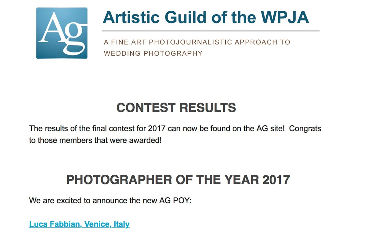 Photographer of the year by ag|wpja. Luca Fabbian, award winning international wedding photographer in Italy