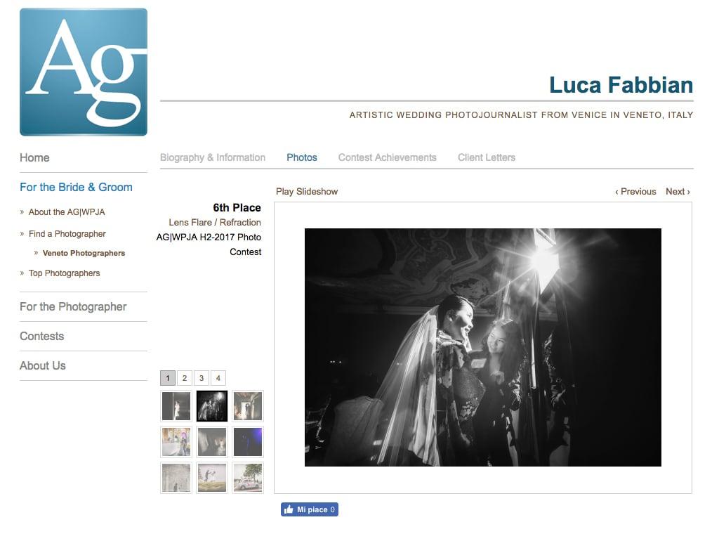 Fotografo dell'anno. Luca Fabbian fotografo di matrimonio in Veneto, nominato fotografo dell'anno da AG|WPJA