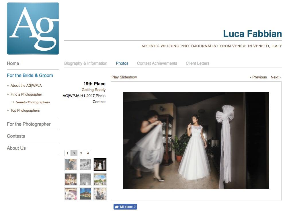 Premio internazionale fotografia di matrimonio. Luca Fabbian fotografo dell'anno AG|WPJA
