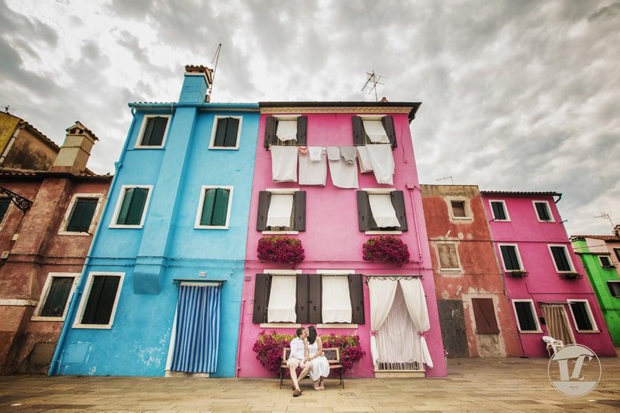 servizi fotografici di coppia pre matrimoniali. Burano Venezia